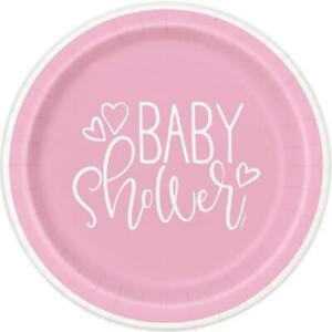 """Baby Shower Pink 9"""" Plates - Pack of 8"""