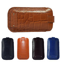 """CROC Printed Genuine Leather 4"""" Mobile Pull Tab Cover Pouch for iPhone SE 5 5S"""