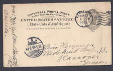 UX16 1906 USED TO HANNOVER GERMANY RECEIVING STAMP ON FRONT