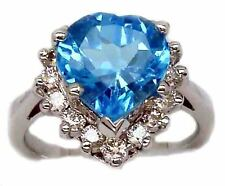 Stunning 3.85Ct G Color Diamond Heart Blue Topaz Engagement Ring 14K White Gold!