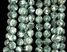 """8MM RUSSIAN SERAPHINITE GEMSTONE AA GREEN FACETED ROUND LOOSE BEADS 7.5"""""""
