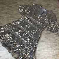 A-463 Saylor Sidney Dress Metallic V Neck Ruffle Bell Sleeve Sequin S *defect