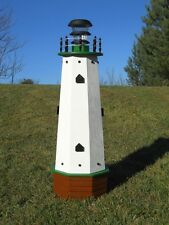 """36"""" Solar lighthouse wood decorative lawn and garden ornament - green accents"""