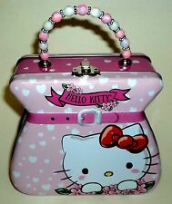 """HELLO KITTY By Sanrio TIN PURSE With Beaded Handle 9"""" Tall Including Handle New"""