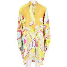 Emilio Pucci Yellow Tone Signature Pattern Cotton Silk Shirt Dress IT44 UK12