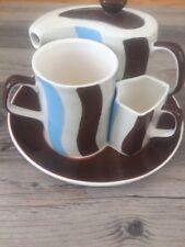 HuesNBrews Latte Coffee Cup, TeaPot & Creamer Set Brown Blue White Stripes.