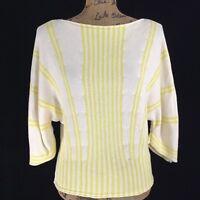NEW Anthropologie Sm S Sweater MOTH Ivory Yellow Stripe Palma Crop Dolman Sl NWT