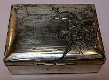 VINTAGE ANTIQUE SILK LINED SILVER PLATED TRINKET BOX