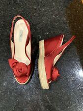 Prada Red Satin Floral Wedge Sandals Heels Size 38 EUC