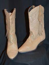 Laredo Vintage 1980s Tan Fringe Detail 100% Leather Cowboy Boots sz 8M