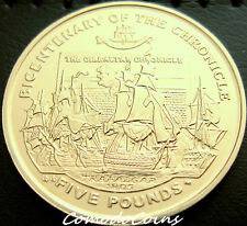 2001 Gibraltar £5 Extremely Rare Five Pounds Coin The Hronicle Trafalgar UNC
