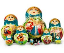 "10 pcs Nesting Doll Matryoshka Hand Painted Russian Doll 5.4"" Tall"