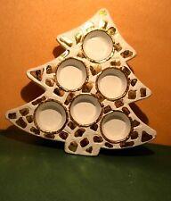 Keramik-Weihnachtsbaum für 6 Teelichter,27 x 28 cm,weiß/gold, neu