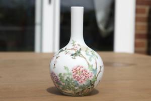 Antique Chinese Republic Period Famille Rose Bird Calligraphy Vase Qianlong Mark