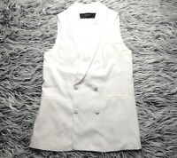 ZARA WOMEN'S WHITE SLEEVELESS TUXEDO  DRESS VEST SIZE S NWOT