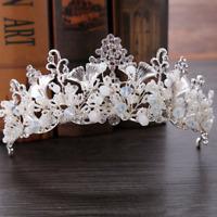 Bridal Princess Rhinestone Pearl Leaf Crystal Hair Tiara Wedding Crown Headband