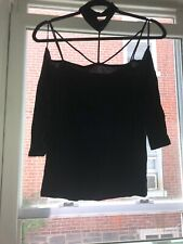New Ambiance Cold Shoulder Caged Collared Black Top Size M