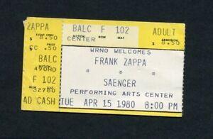1980 Frank Zappa Concert Ticket Stub New Orleans LA Joe's Garage