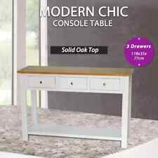 Console Table 118x35x77 Cm Solid Oak Wood vidaXL