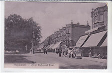 1905 POSTCARD WANDSWORTH - UPPER RICHMOND ROAD, LONDON CHEMIST + HORSE DRAWN BUS