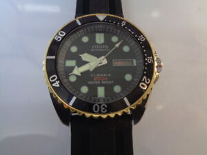 Citizen Diver Mens Watch Day & Date Automatic Black Dial Silicone Bracelet kanji