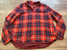 MADEWELL Red Blue Khaki Plaid Flannel Casual Shirt Top Blouse womens Large LG