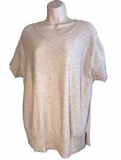 Eileen FIsher ~ Size XL ~ Short Sleeve Knit Tunic ~ Slits Hem ~ Beige