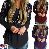 Womens Floral Crew Neck Blouse T-Shirt Casual Long Sleeve Tops Loose Pullover US