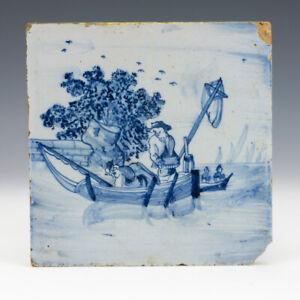 Antique Dutch Delft - Sailing Boat Decorated Blue & White Tin Glazed Tile
