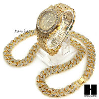 "Hip Hop Iced Out Techno Pave Watch & 30"" Cuban Stone Chain Necklace Set GS156"