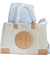 Tory Burch Ella Canvas Leather Tote Bag Large Natural NWT
