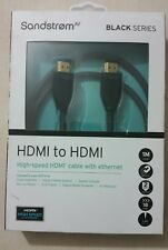 SANDSTROM BLACK (S1HDM114X) 1 Metre HDMI + Ethernet cable