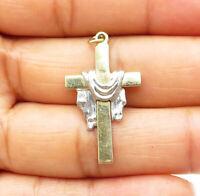 925 Sterling Silver - Petite Shiny Two Tone Religious Cross Pendant - P7297