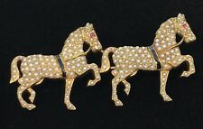 Antique 14k Gold Seed Pearl Ruby Eye Two Horse Trot Pin Brooch-14.2 grams