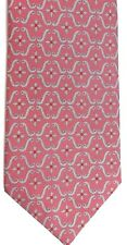 "Cornelia James Men's Silk Tie 59 X 4"" Dark Pink w/ silver/red Geometric"