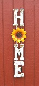 """ALL METAL WALL DECOR """"HOME"""" WALL PLAQUE SUNFLOWER WELCOME SIGN WHITE 26"""""""
