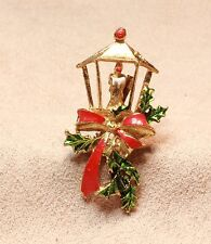 1970's Holiday Candle Lamp enameled gold tone figural brooch pin VINTAGE