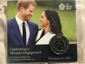 Royal Mint Celebrating A Windsor Engagement UK £5  Coin  2017 Harry & Megan