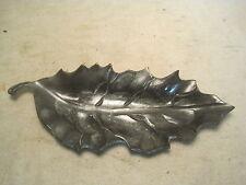 unique solid metal leaf shaped tray dish heavy sharp oak maple ? serving figural