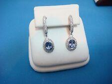 ! ELEGANT TANZANITE AND PAVE DIAMOND LADIES DANGLE EARRINGS, 3.8 GRAMS, 18K GOLD