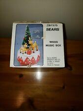 Sears Wood Music Box Jingle Bells Christmas Tree And Reindeer