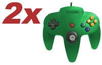 2 x Nintendo 64 CONTROLLER GREEN  N64 *OLD SKOOL*