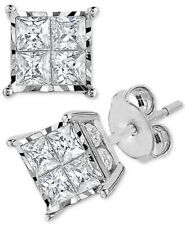 Diamond Princess Cluster Stud Earrings (1/2 ct. t.w.) in 14k Gold
