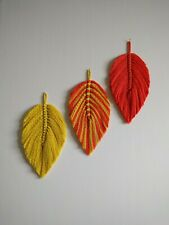 Macrame feathers leaves wall hanging home decor gift, multi colours, 26 cm long.