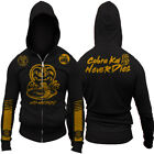 Hot New Cobra Kai Never Dies No Mercy Race Stripe Sleeves Karate Kid Zip Up Hood