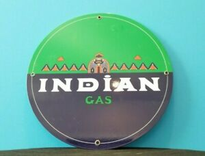 VINTAGE INDIAN GASOLINE SERVICE STATION NATIVE AMERICAN CHEIF PUMP PLATE SIGN