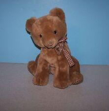 "1984 Dakin 10"" Teddy Bear Cub Plaid Paws w/ Ribbon Stuffed Plush - Made Korea"