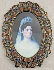 """Bejeweled multi-colored Oval Photo Frame Victorian holds 4"""" x 6"""" picture"""