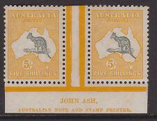 "Australia - 1915/27 terzo wmk 5 / - ""ASH"" impronta COPPIA MINT ascc 44zg (ref.d72)"
