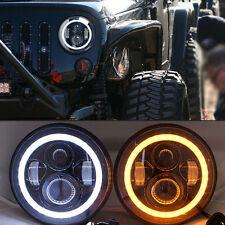"2x 7"" Headlight LED Flash Amber angel eye For Jeep Wrangler CJ JK TJ CJ5 CJ8 CJ7"
